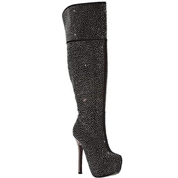 c2bd076cfbc Over The Knee Rhinestone Stiletto Heel Boots